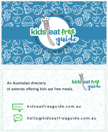 kids eat free guide business card